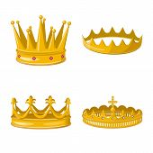 Vector Design Of Monarchy And Gold Icon. Collection Of Monarchy And Heraldic Stock Symbol For Web. poster