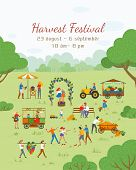 Harvest Festival Vector, People Celebrating And Having Fun. Friends Throw Tomatoes. Grapes, Market W poster