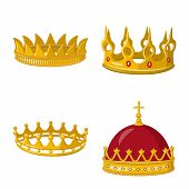 Vector Design Of Monarchy And Gold Symbol. Collection Of Monarchy And Heraldic Stock Symbol For Web. poster
