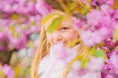 Allergy Remedy. Pollen Allergy Concept. Get Rid Of Seasonal Allergy. Girl Enjoying Floral Aroma. Kid poster