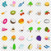 Vegetarian Food Icons Set. Isometric Style Of 36 Vegetarian Food Icons For Web For Any Design poster