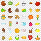 Vegetarian Dish Icons Set. Cartoon Style Of 36 Vegetarian Dish Ector Icons For Web For Any Design poster