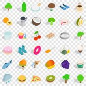 Vegetarian Kitchen Icons Set. Isometric Style Of 36 Vegetarian Kitchen Icons For Web For Any Design poster