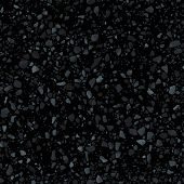 Black Terrazzo Flooring Seamless Texture. Realistic Vector Pattern Of Dark Mosaic Floor With Natural poster