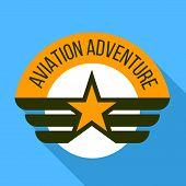 Aviation Adventure Logo. Flat Illustration Of Aviation Adventure Logo For Web Design poster