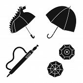 Vector Illustration Of Weather And Rainy Icon. Set Of Weather And Rain Stock Symbol For Web. poster