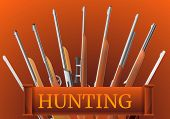Hunting Rifle Type Concept Banner. Cartoon Illustration Of Hunting Rifle Type Concept Banner For Web poster