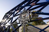 ANNAPOLIS, MD - OCT 21: The USNA coat-of-arms on the entrance gates to the US Naval Academy in downt