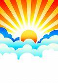 Постер, плакат: Солнце встает в облаках