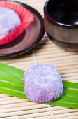 stock photo of ube  - mochi or sticky rice balls filled with variety of flavors