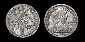 Постер, плакат: Античная монета 10 сантимов