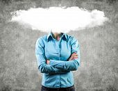 stock photo of maliciousness  - Photo of the girl with a white cloud on a head - JPG