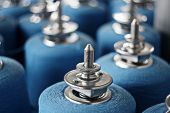 foto of rayon  - Colorful spools of thread in a textile factory - JPG