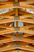 picture of 2x4  - View of a roof truss system from below - JPG