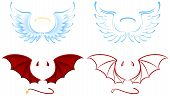 stock photo of angel devil  - Angel and Devil wings isolated on white background - JPG