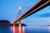 picture of hong kong bridge  - Suspension bridge in Hong Kong at night - JPG