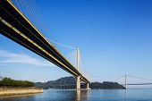 stock photo of tsing ma bridge  - Ting Kau and Tsing Ma suspension bridge in Hong Kong - JPG