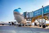 PRAGUE - SEPTEMBER 6: Korean Air Boeing 747 on the aircraft parking stand in Vaclav Havel Prague Air