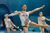 KIEV, UKRAINE - AUGUST 31: Team France performs the routing with clubs during the 32nd Rhythmic Gymn