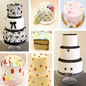 pic of mural  - Mural of various cakes on white background - JPG