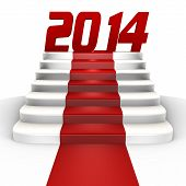 New year 2014 on a red carpet - a 3d image