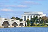 picture of memorial  - Washington DC skyline view with Lincoln Memorial and Memorial Bridge on Potomac River - JPG