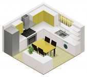 image of isometric  - Vector isometric kitchen icon - JPG
