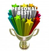 The words Personal Best in a gold trophy to illustrate a record, accomplishment or achievement in a