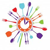 template idea for a logo fast food restaurant - a plate-clock with glasses, spoons, knives and forks
