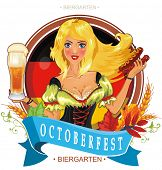 picture of national costume  - Oktoberfest logo design with the flag of Germany and Pretty girl with beer - JPG