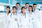 foto of hospital  - Group of doctors at the hospital looking happy - JPG
