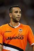 BARCELONA - AUG, 24: Adil Rami of Valencia CF in action during a Spanish League match against RCD Es