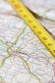 picture of meter stick  - photo of road map of florence with measuring stick - JPG