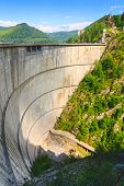 stock photo of dam  - Vidraru dam Fagaras mountains in Romania - JPG