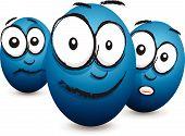stock photo of blubber  - a blue set of three cartoon blue egg faces - JPG