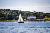 stock photo of martha  - A sailboat off the coast of Cape Cod a a nice Summer afternnon - JPG