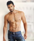 stock photo of shirtless  - Muscular handsome sexy guy - JPG