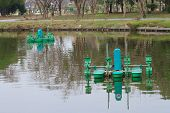stock photo of aeration  - Automatic Aerator floated on water surface - JPG