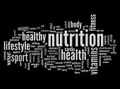 image of high calorie foods  - High resolution concept or conceptual abstract nutrition and health word cloud or wordcloud on black background - JPG