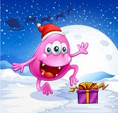 image of beanie hat  - Illustration of a happy pink beanie monster wearing Santa - JPG