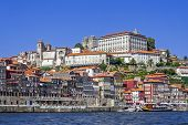 The typical colorful buildings of the Ribeira District and the Douro River in the city of Porto, Por