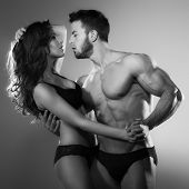picture of lovers  - Passionate couple of lovers in the studio - JPG
