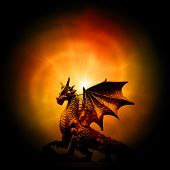a statue of dragon over orange mysterious background