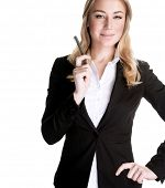 Portrait of attractive business woman talking on the mobile phone, isolated on white background, mod