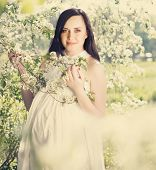 Portrait Of Beautiful Pregnant Woman In White Dress