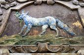 picture of mural  - Fresco of the dog on a ancient mural - JPG