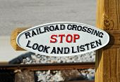 pic of railroad-sign  - Railroad Crossing Sign Warning to Stop Look and Listen - JPG