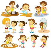 image of babysitting  - Illustration of the different actions of a young girl on a white background - JPG