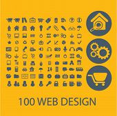 100 web design, e-commerce icons, buttons, symbols, buttons isolated set, vector on background