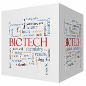 Biotech 3D Cube Word Cloud Concept